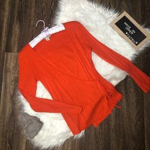 Banana Republic Bright Orange Tie Sweater Small